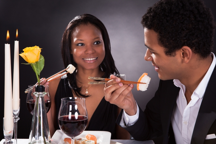 Romantic Couple Eating Sushi