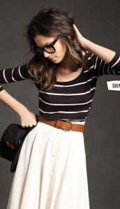 Stripped blouse and cream skirt