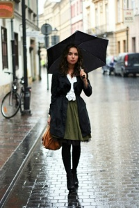 Coat on skirt and blouse