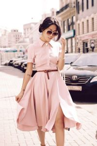 Pink gown and brown belt
